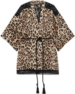 Leopard-print Silk-blend And Corded Lace Robe