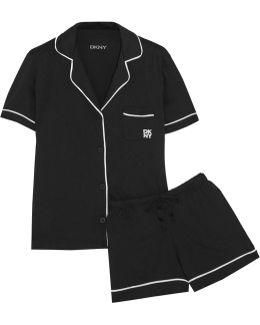 Signature Cotton-blend Jersey Pajama Set