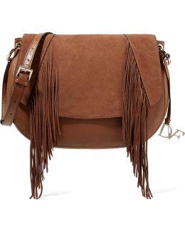 Paneled Textured-leather And Fringed Suede Shoulder Bag