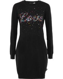 Abito Embellished Stretch-knit Mini Dress