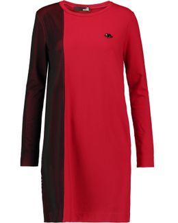 Mesh-trimmed Jersey Mini Dress