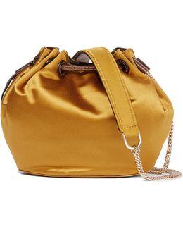 Love Power Mini Leather-trimmed Satin Bucket Bag
