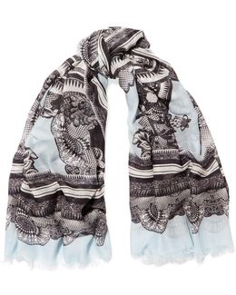 Fringed Jacquard Modal And Cashmere-blend Scarf