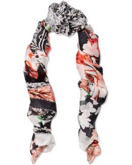 Lace-paneled Printed Silk-chiffon Scarf