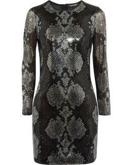Sequinned Silk Mini Dress