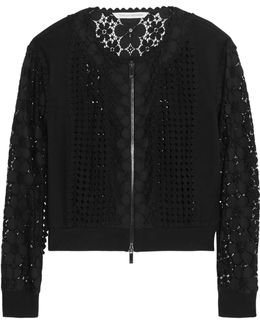 Jessica Paneled Crocheted Lace And Jersey Jacket