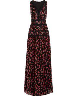 Jordanna Printed Silk Crepe De Chine Maxi Dress