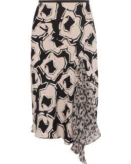 Posey Paneled Printed Silk-blend Crepe Midi Skirt