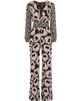 Viona Printed Silk-blend Crepe De Chine Jumpsuit
