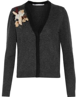 Temira Embellished Embroidered Wool And Cashmere-blend Cardigan