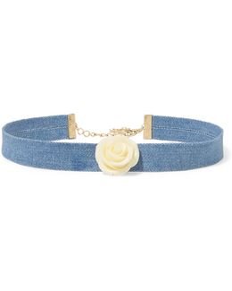 Embellished Denim Choker