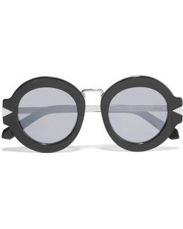 Round-frame Acetate And Silver-tone Mirrored Sunglasses