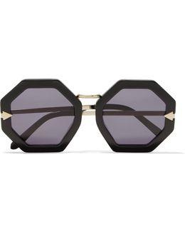 Moon Disco Square-frame Acetate And Gold-tone Sunglasses