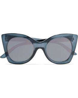 Savanna Cat-eye Acetate Mirrored Sunglasses