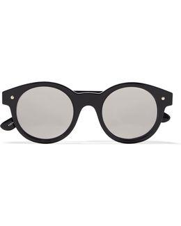 Chateau Round-frame Acetate Mirrored Sunglasses