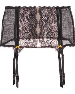 Olympia Lashes Stretch-tulle And Lace Suspender Belt