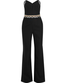 Strapless Embroidered Crepe Jumpsuit