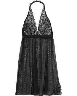 Chance Lace-trimmed Mesh Chemise