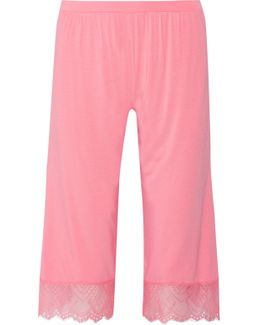 Cheyenne Cropped Lace-trimmed Jersey Pajama Pants