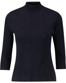 Ribbed Cotton-blend Jersey Turtleneck Top