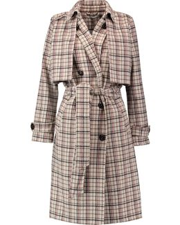 Checked Wool-blend Trench Coat