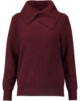 Draped Ribbed Merino Wool-blend Sweater