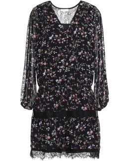 Auggie Corded Lace-paneled Floral-print Silk Mini Dress