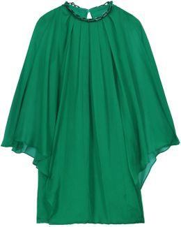 Embellished Draped Chiffon Mini Dress