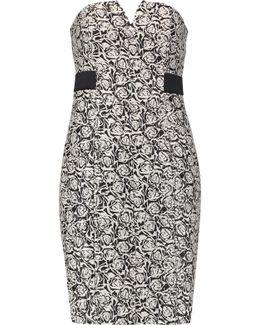 Strapless Embroidered Jacquard Mini Dress