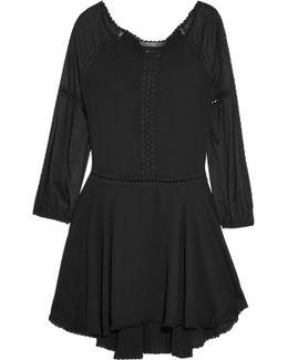 Off-the-shoulder Crochet-trimmed Ponte Mini Dress