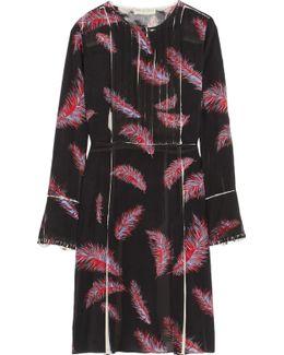 Pintucked Silk-blend Chiffon Dress