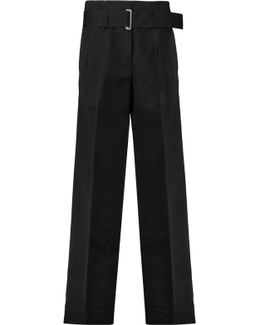 Belted Cotton And Silk-blend Wide-leg Pants