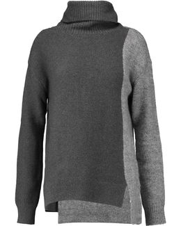 Paneled Cotton-blend And Knitted Turtleneck Sweater