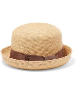 Grosgrain-trimmed Straw Panama Hat