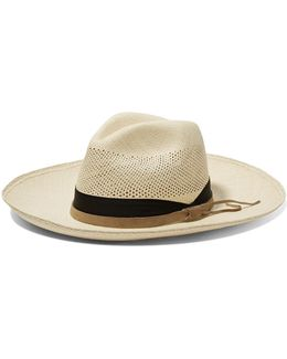 Suede-trimmed Toquilla Straw Panama Hat
