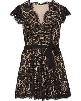 Sloane Belted Pleated Corded Lace Mini Dress