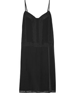 Fiorato Cotton-blend Lace-trimmed Washed-silk Slip Dress