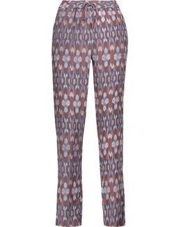 Kira Printed Washed-silk Tapered Pants