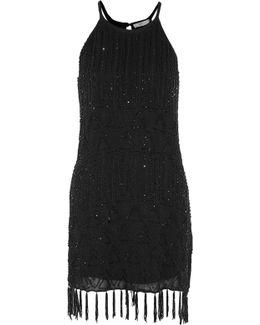 Sanibel Fringed Beaded Gauze Mini Dress