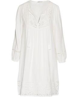 Chayna Broderie Anglaise-paneled Crepe Mini Dress