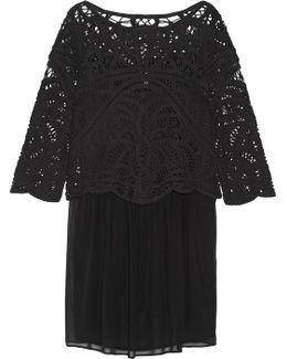 Jordie Layered Cotton-macramé And Silk-chiffon Mini Dress