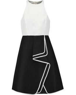Two-tone Ruffled Cotton And Silk-blend Mini Dress