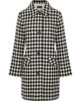 Checked Wool-blend Felt Coat