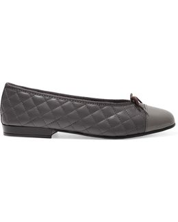 Quilted And Patent-leather Ballet Flats