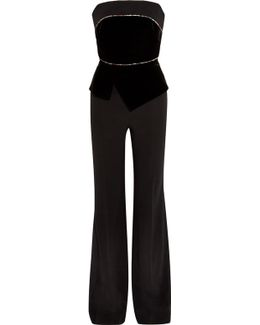 Lyon Embroidered Velvet And Crepe Jumpsuit