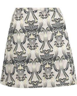 Wrap-effect Printed Faille Mini Skirt