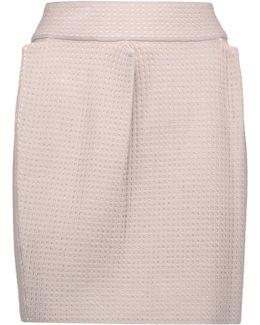 Pleated Stretch Open-knit Mini Skirt