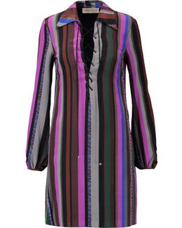 Lace-up Printed Silk Crepe De Chine Mini Dress