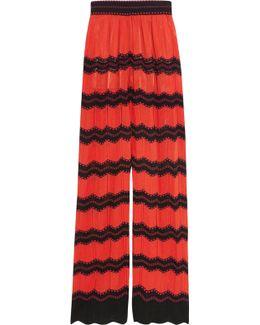 Cotton-blend Crochet-knit Wide-leg Pants