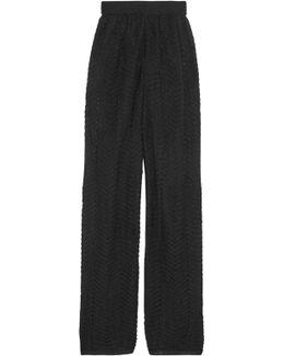 Metallic Crochet-knit Wide-leg Pants